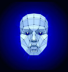 polygonal human face on dark futuristic concept vector image