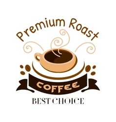 Premium roast coffe icon Cafe emblem vector