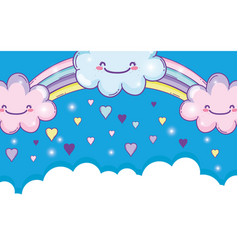 Rainbow with happy fluffy clouds and hearts vector