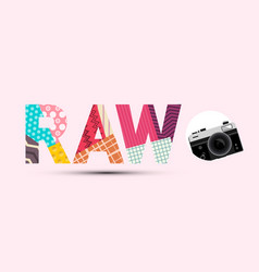 raw title made from paper cut papers with retro vector image