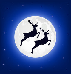 Reindeer jumps against the background of the moon vector