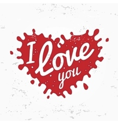 Retro heart shape symbol logo concept I love you vector image