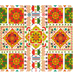 Retro seamless pattern tile folk floral art vector