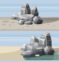 Rocks and stones single or piled for damage and vector