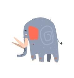 Sad blue elephant walking vector