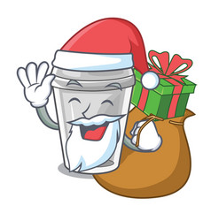 Santa with gift plastic cup on a cartoon table vector
