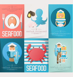 Seafood restaurant posters set vector