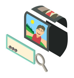search photo icon isometric 3d style vector image