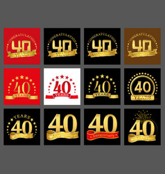 set of number forty year 40 year celebration vector image