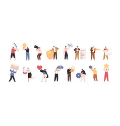 set tiny people with big items isolated on vector image