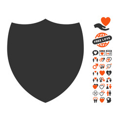 shield icon with dating bonus vector image