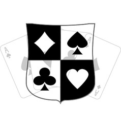 Stencil shield with card suits vector