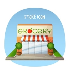 Store icon Grocery shop market building Cartoon vector