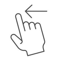 Swipe left thin line icon flick left vector