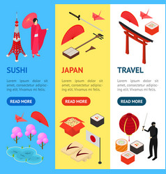 Symbol of japan banner vecrtical set isometric vector