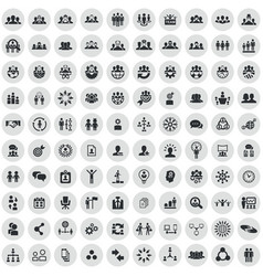 teamwork 100 icons universal set for web and ui vector image
