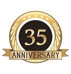 Thirty Five Year Anniversary Badge vector image