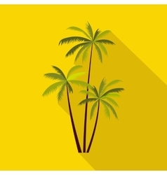 Three coconut palm trees icon flat style vector image