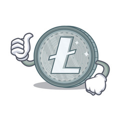 thumbs up litecoin character cartoon style vector image
