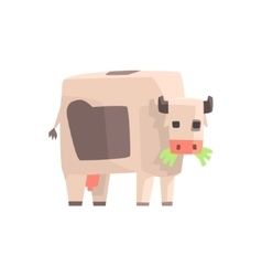 Toy Simple Geometric Farm Cow Browsing With Mouth vector image