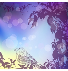 Twilight background with ivy and a bird vector