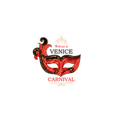 venice sign with venetian carnival party eye mask vector image
