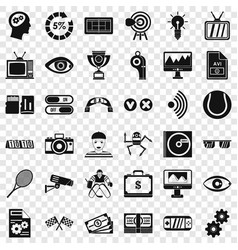 video format icons set simple style vector image