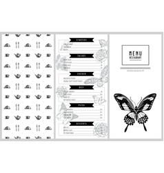 Vintage menu design with giant swordtail african vector