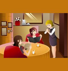 waitress in restaurant serving customers vector image