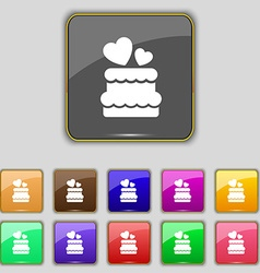 wedding cake icon sign Set with eleven colored vector image