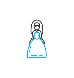 wedding dress thin line stroke icon vector image