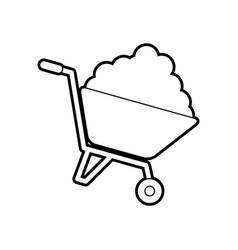 wheelbarrow with cement construction equipment vector image