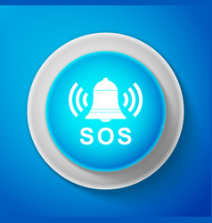 White alarm bell and sos lettering icon isolated vector