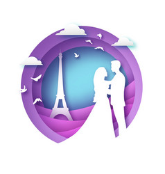 white silhouette of romantic lovers with eiffel vector image