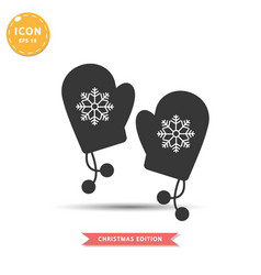 winter gloves icon simple flat style vector image