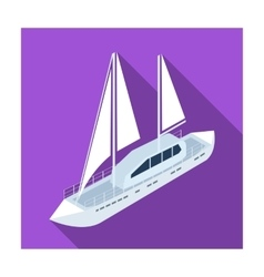 Yacht icon in flat style isolated on white vector