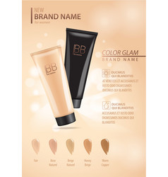 cosmetic ads template make up liquid foundation vector image