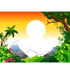 Landscape with sunset background vector