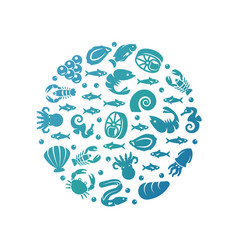 ocean life colorful round concept - sea food vector image