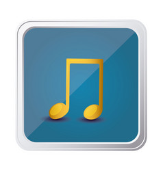 Button of musical note in yellow with background vector