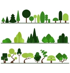 Set of flat trees pine bushes fancy plants vector