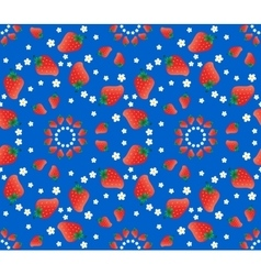 Strawberry pattern on blue background vector image vector image