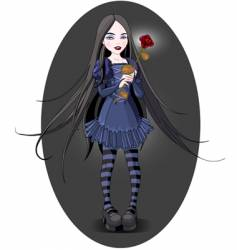 goth girl vector image