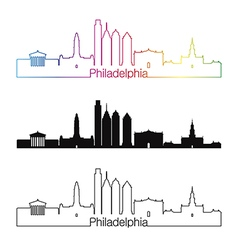 Philadelphia skyline linear style with rainbow vector image vector image
