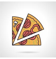 Pizza slice flat color icon vector image