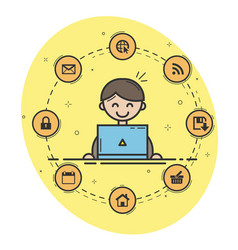 user at workplace vector image