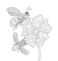 bees on a flower coloring book for adults vector image vector image
