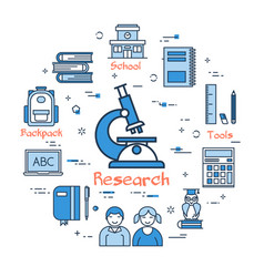 blue round research concept vector image vector image