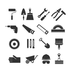 Construction tools black icons set vector image