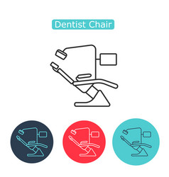 dental chair icon thin line for web and mobile vector image